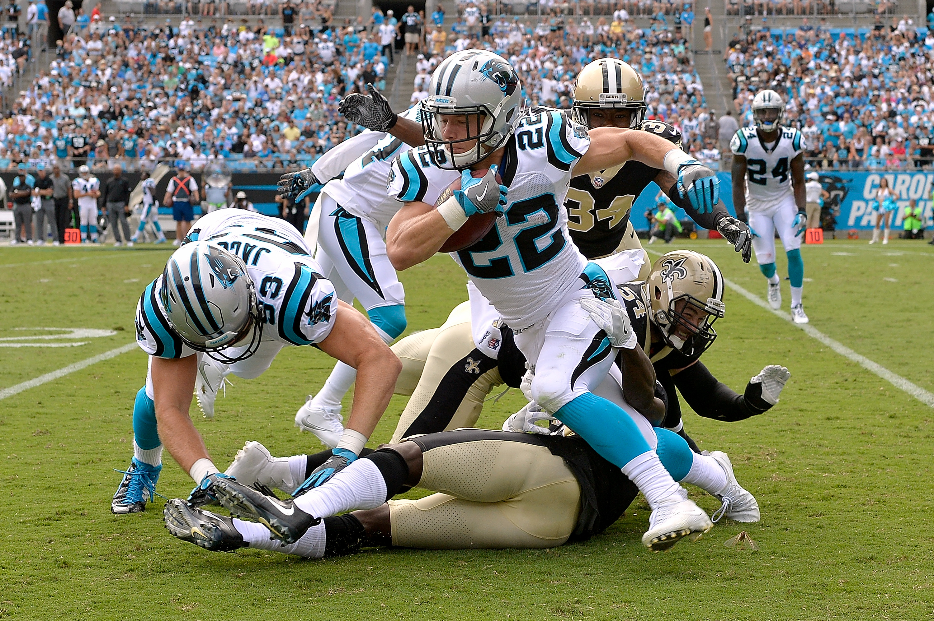 Saints' win over Carolina 31-26; will face the Vikings